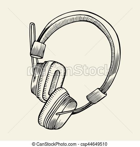 450x470 Headphones Sketch Vector Illustration. Sketch Vector Vector