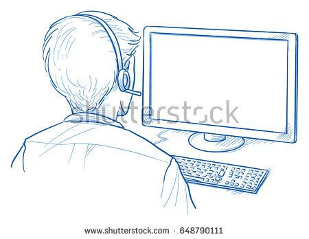 450x348 Back View Of A Business Man With Headset In Front Of A Computer