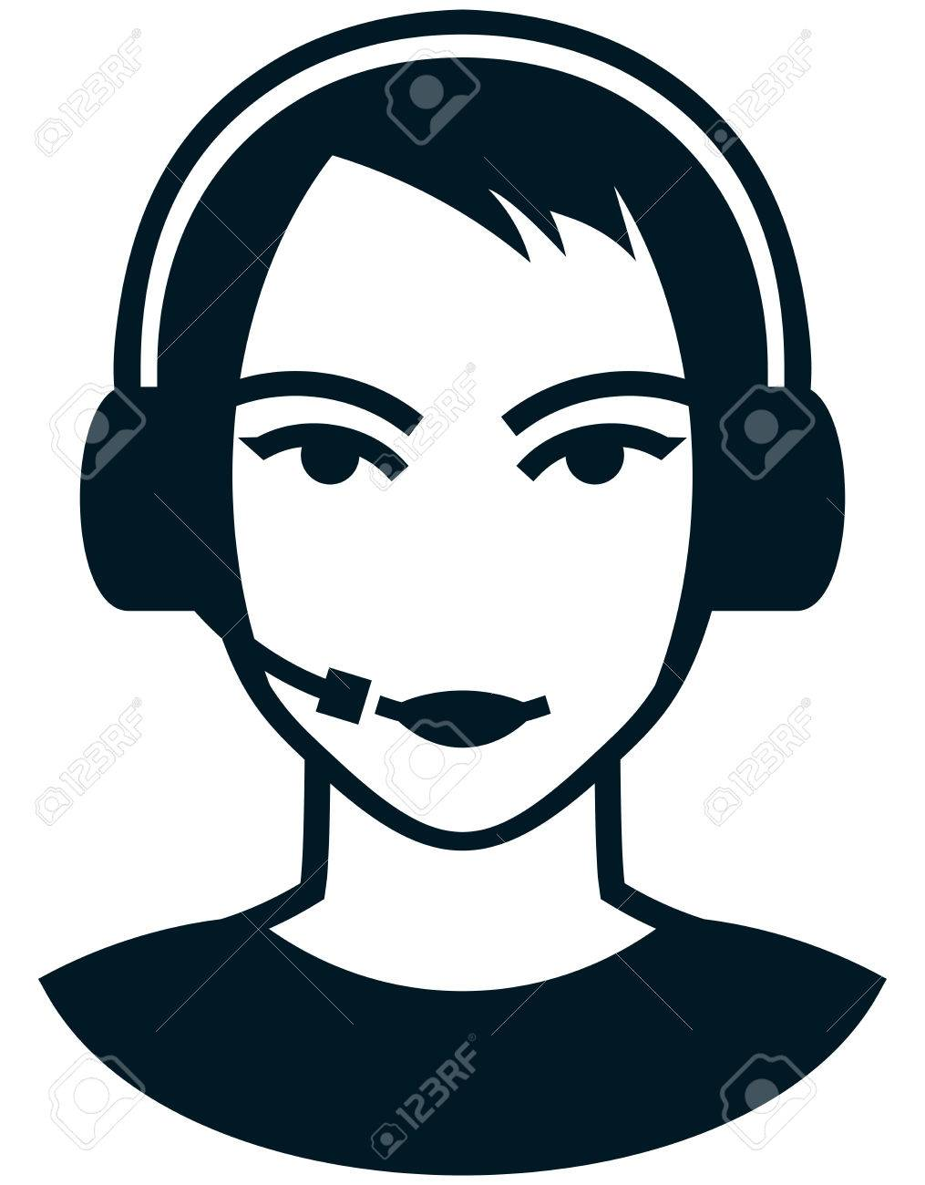 1015x1300 Young Woman Head In Headset Vector Simple Illustration Drawing