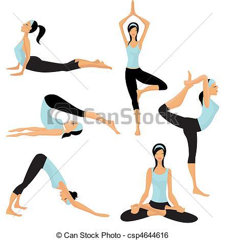 440x470 Yoga Poses Clip Art Vector