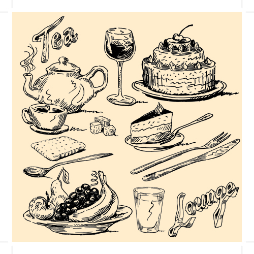 500x500 Drawing Foods Retro Illustrations Vector 01 Free Imagenes Para