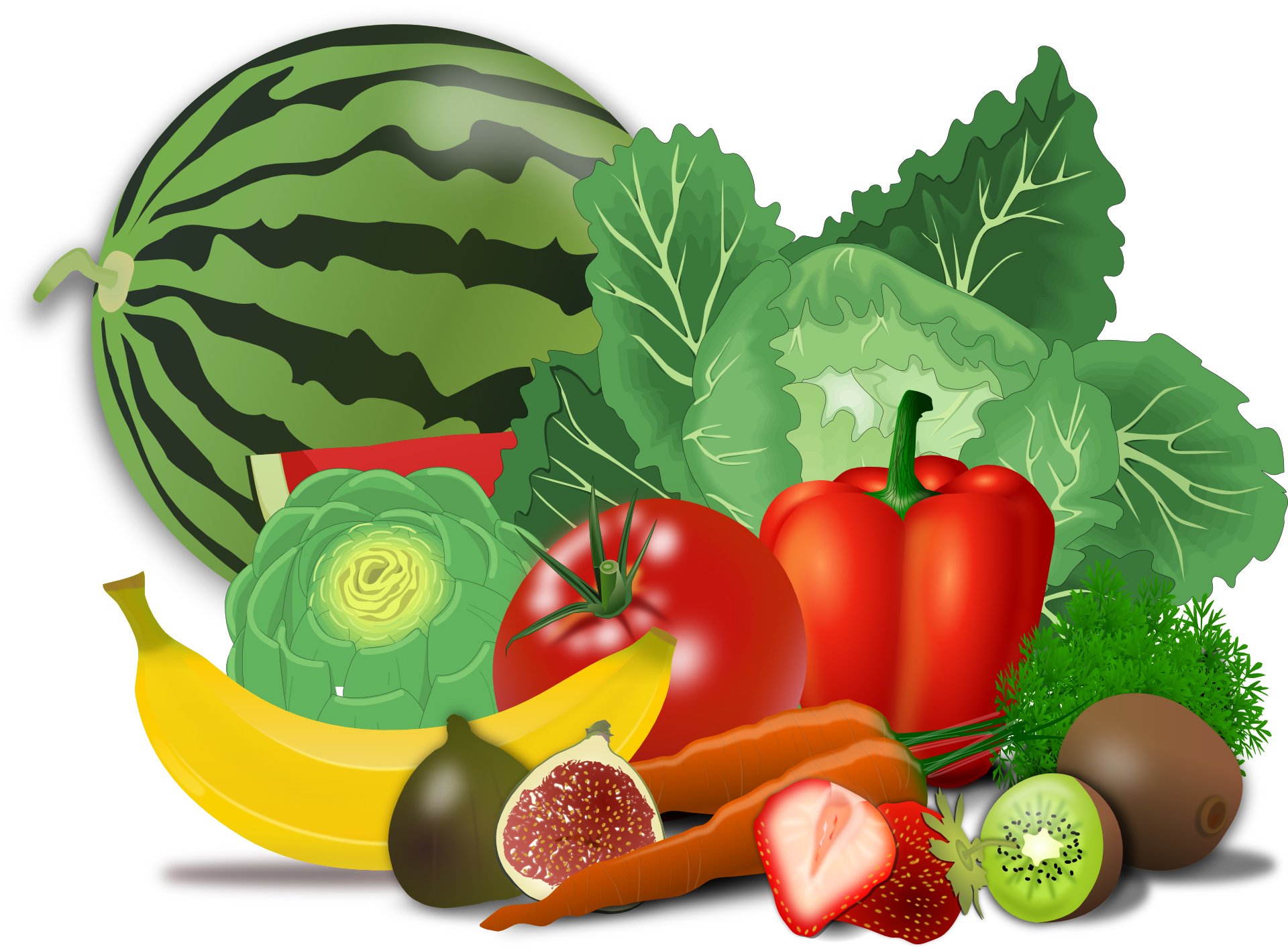 1920x1415 Drawing Of Healthy Food Of Fruit And Vegetables Free Image