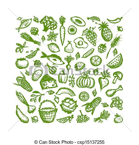 450x470 Healthy Food Background, Sketch For Your Design Clipart Vector