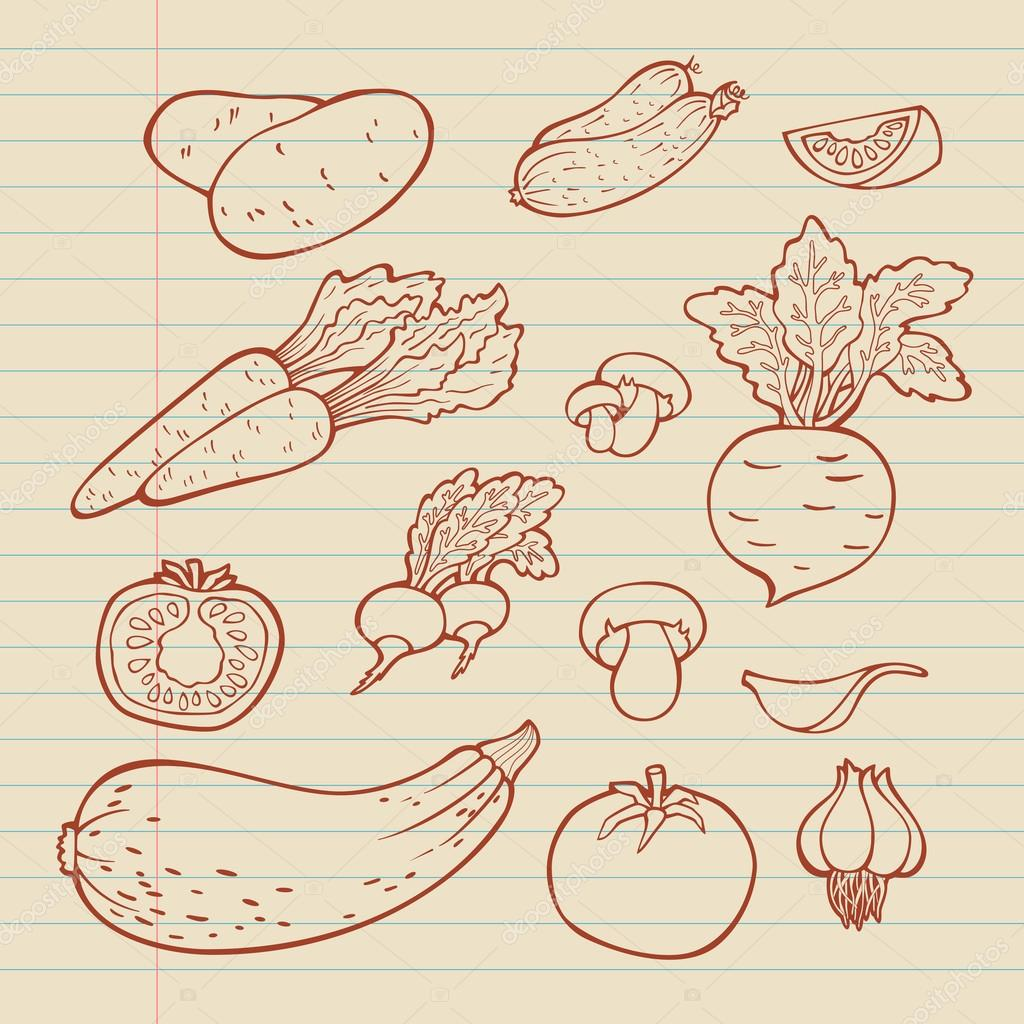1024x1024 Set Of Vegetables. For Menu. Hand Drawing, Retro. Healthy Food