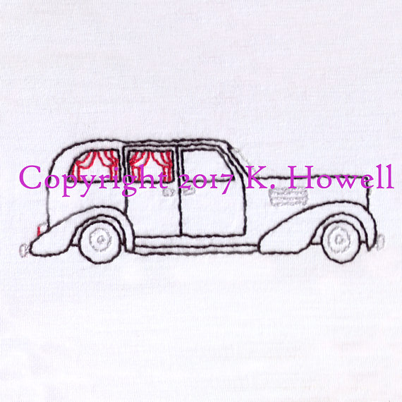 570x570 Hearse Hand Embroidery Pattern, Halloween, Car, Vintage