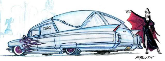 638x238 Old Caddy Hearse Drawing Art