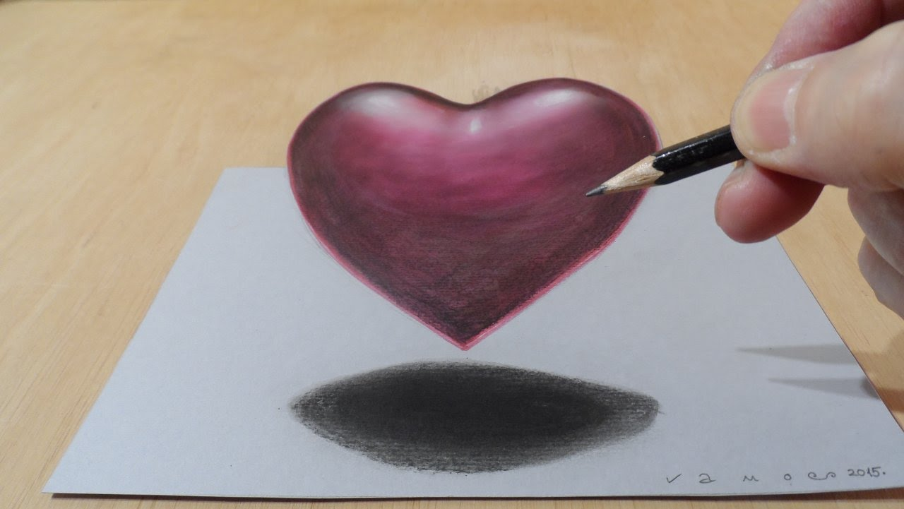 1280x721 Drawing 3d Heart