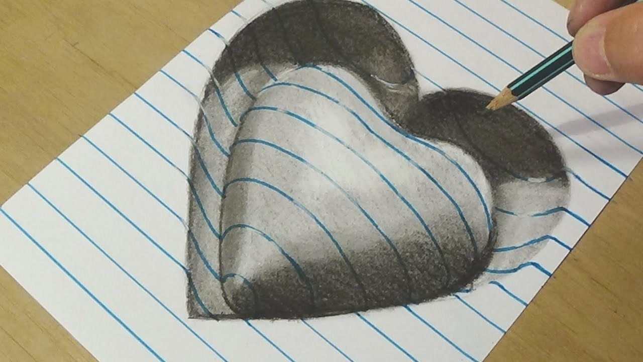1280x720 Drawing Heart With Charcoal Pencils Trick Art On Line Paper