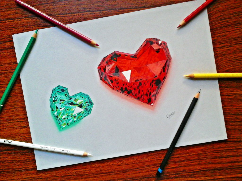 1024x768 Drawing Ruby Heart, Emerald Heart 3d Art By Giorgiovalencia