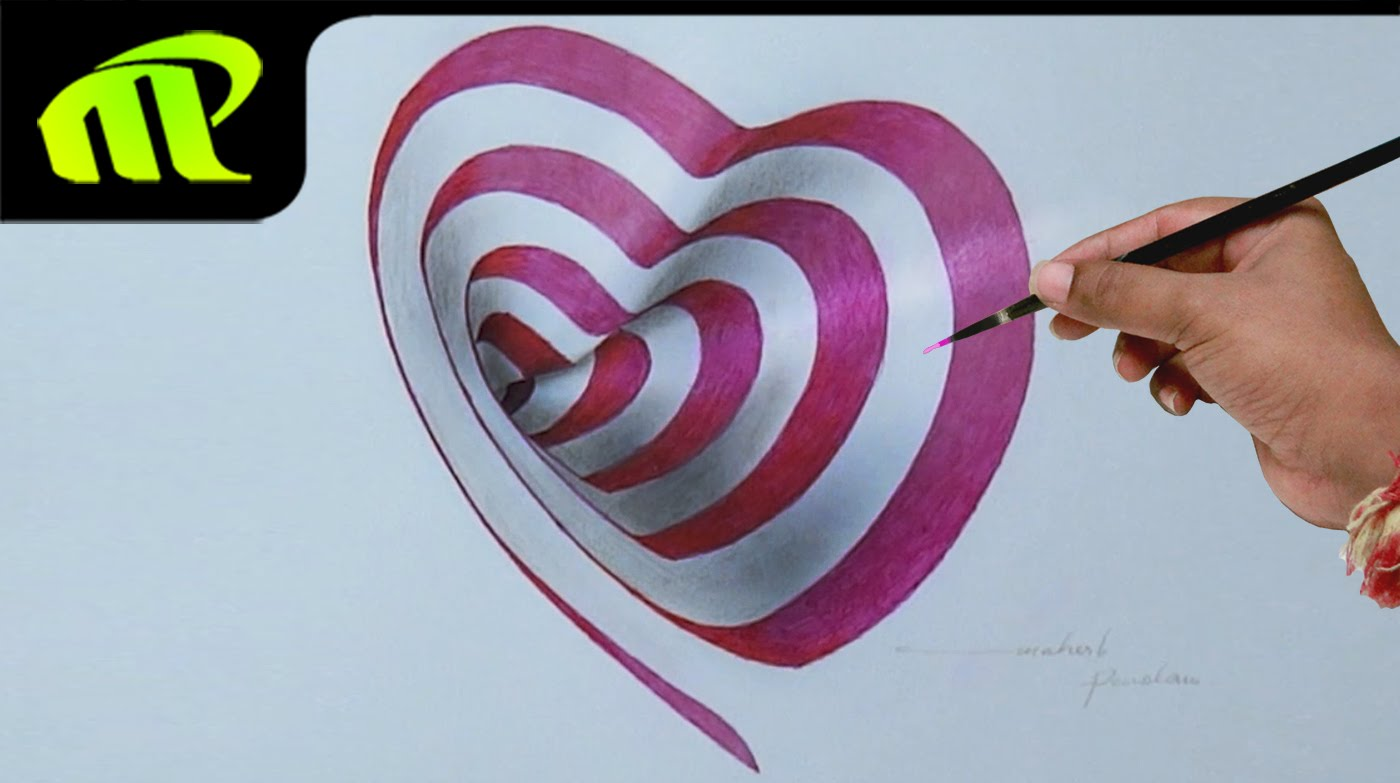 1400x783 Drawing A 3d Heart Hole 3d Trick Art Drawing On Paper