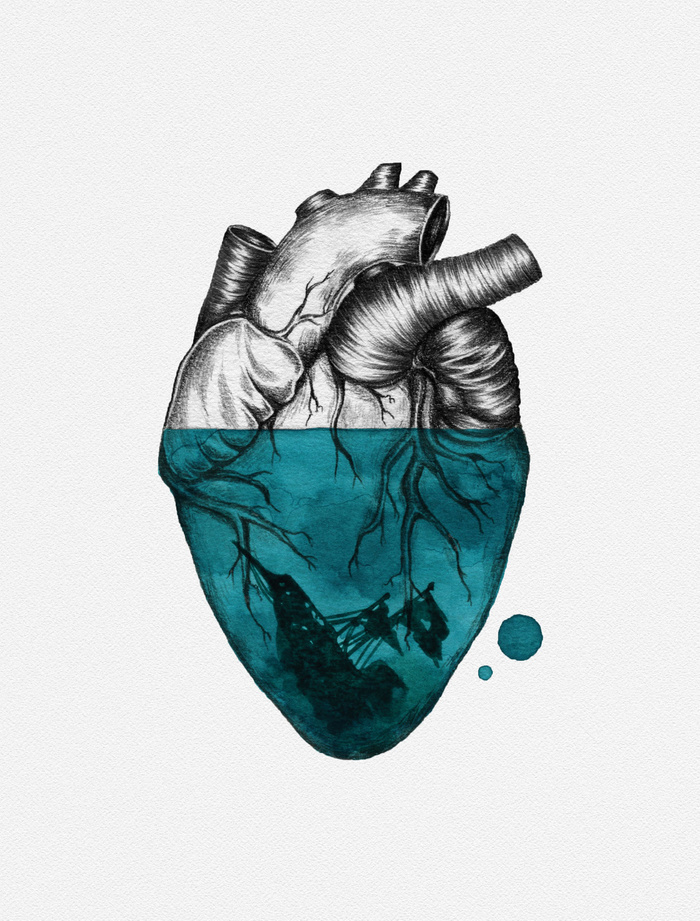 700x921 Sunken Heart Canvas Print