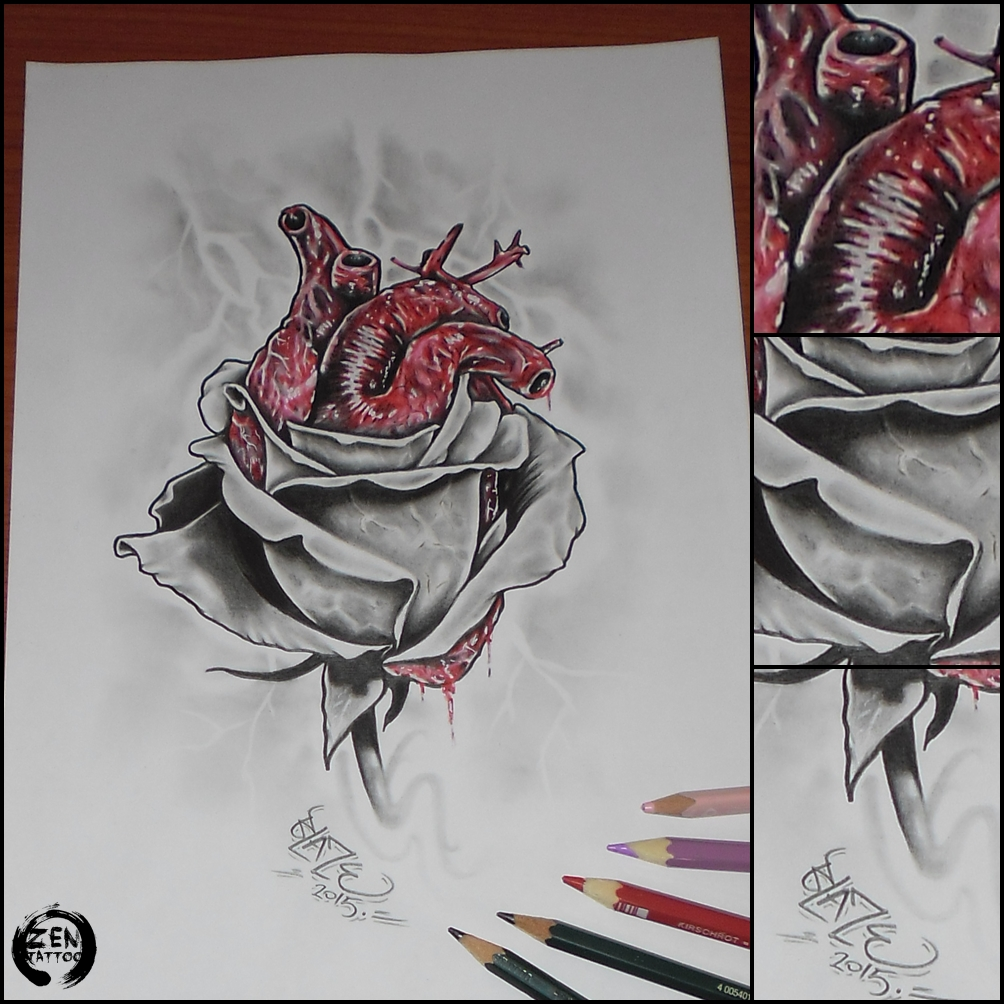 1004x1004 Heart Rose Pencil Drawing By Blazeovsky