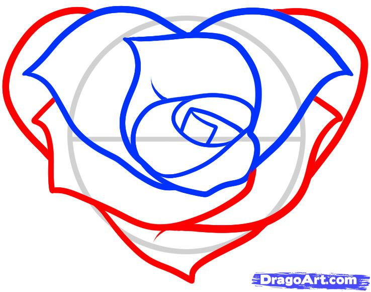 738x580 How To Draw A Heart Rose, Rose Heart, Step By Step, Flowers, Pop