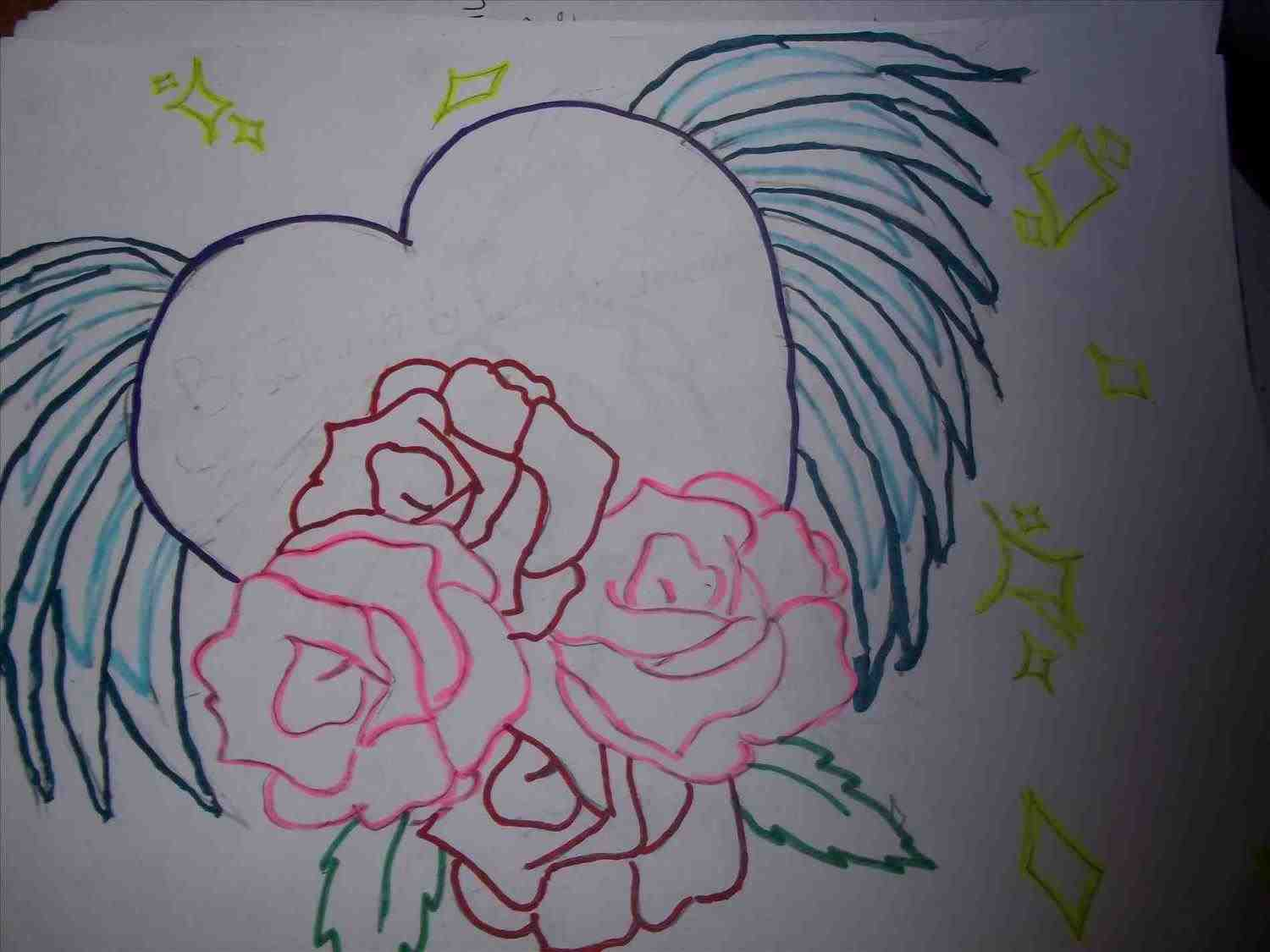1500x1125 The Images Collection Of Drawings Of Hearts With Roses And Wings
