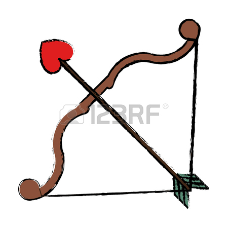 450x450 Drawing Bow And Arrow Heart Love Sign Vector Illustration Royalty