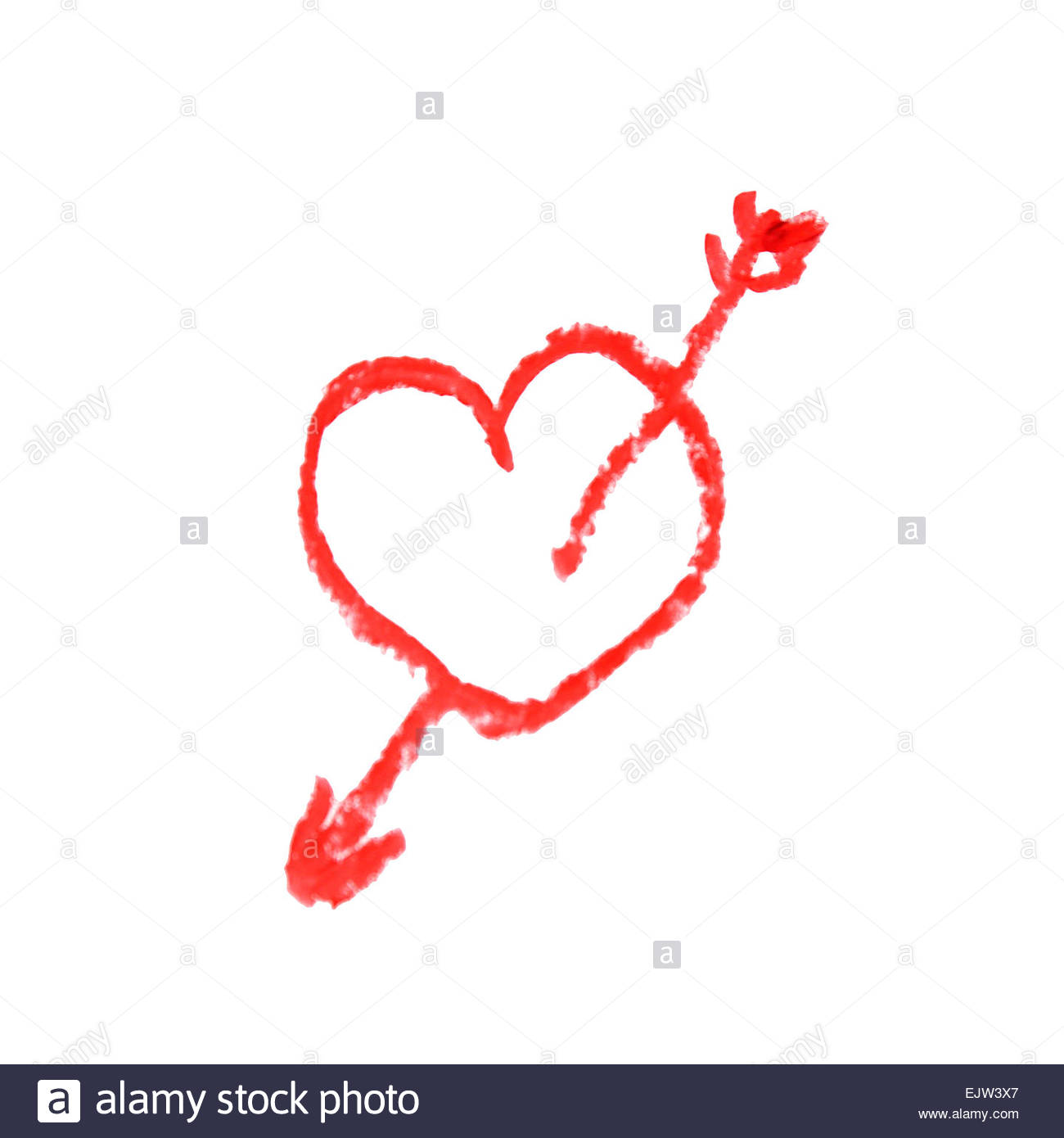 1300x1390 Drawing Heart And Love Arrow On White Background Stock Photo
