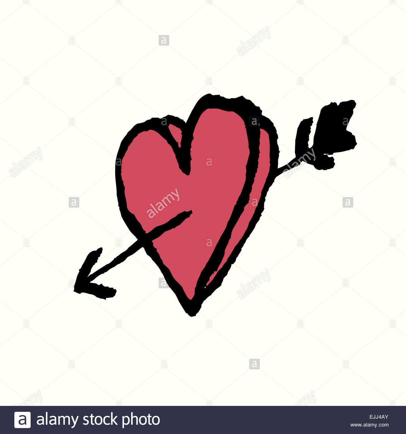 1300x1390 I Love You. Heart And Arrow. Hand Drawn Illustration Stock Photo