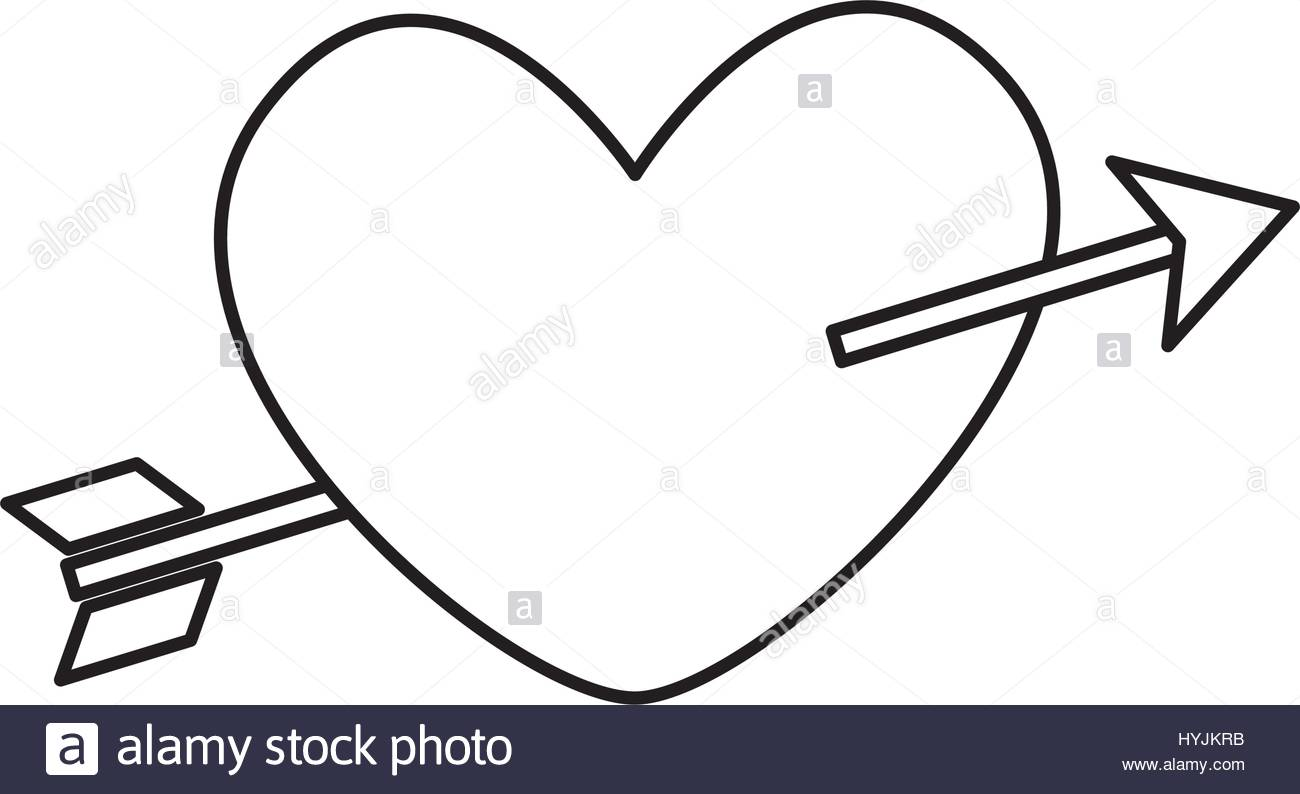 1300x794 Love Card With Heart And Arrow Vector Illustration Design Stock