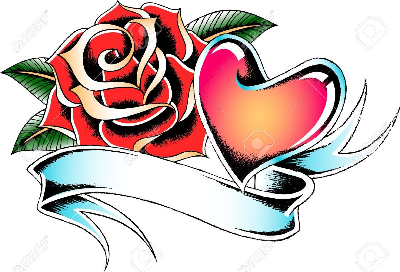 1300x886 10055289 Seasonal Rose And Heart Banner Stock Vector Tattoo.jpg