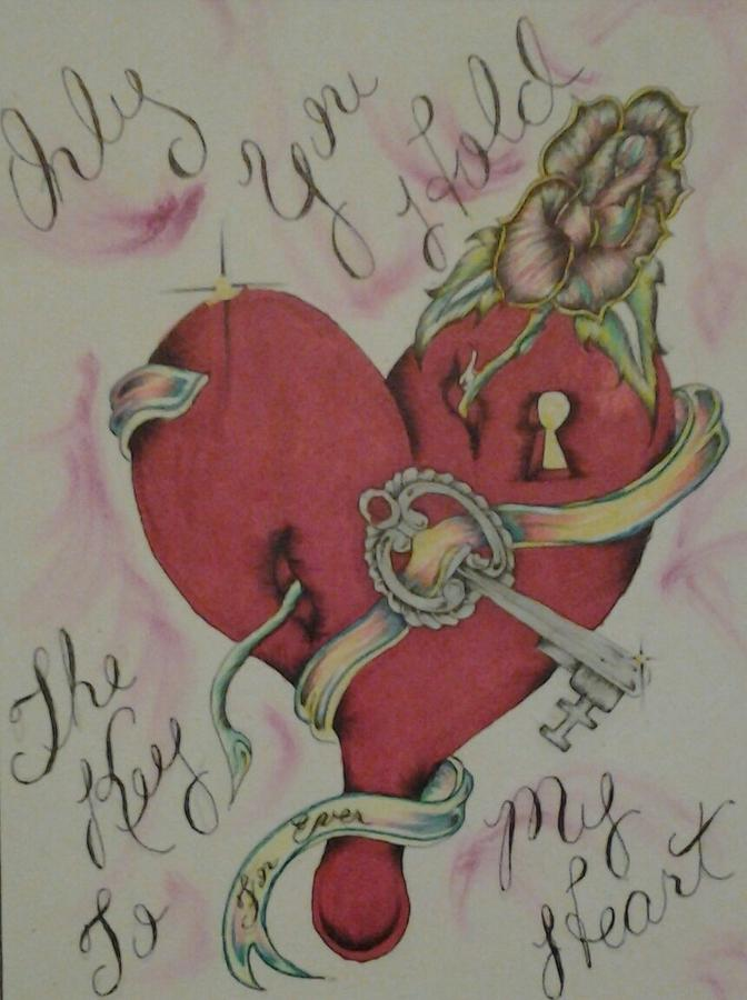 672x900 Key To My Heart Drawing By Ron Dryer