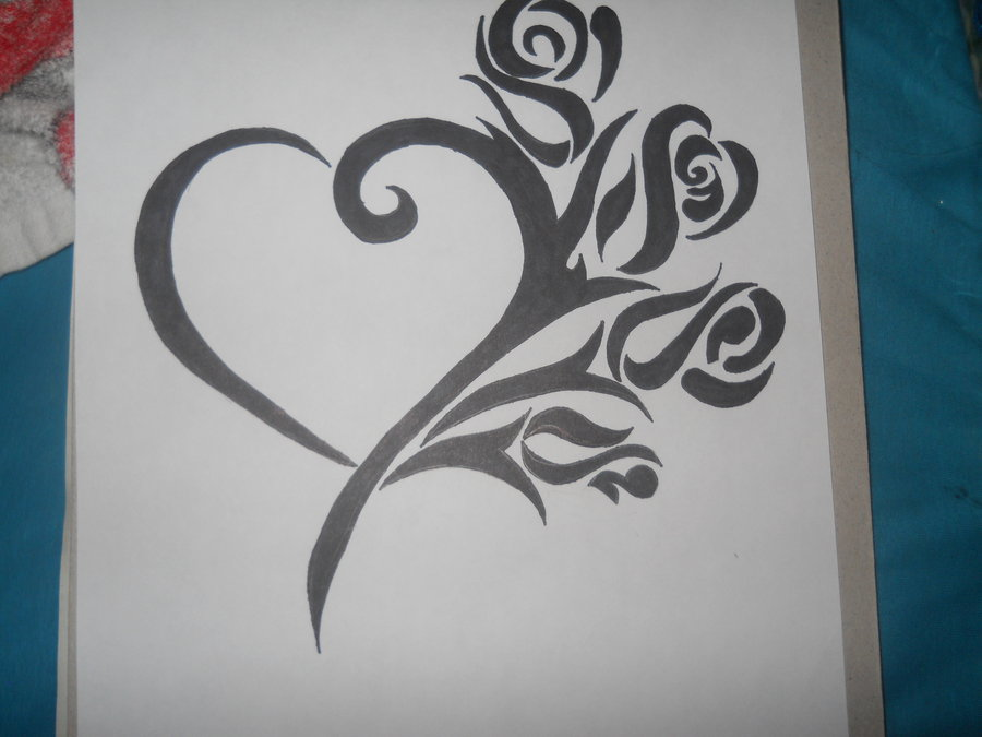 900x675 Heart With Roses Sharpie Art 3 By Hellokittygirl11