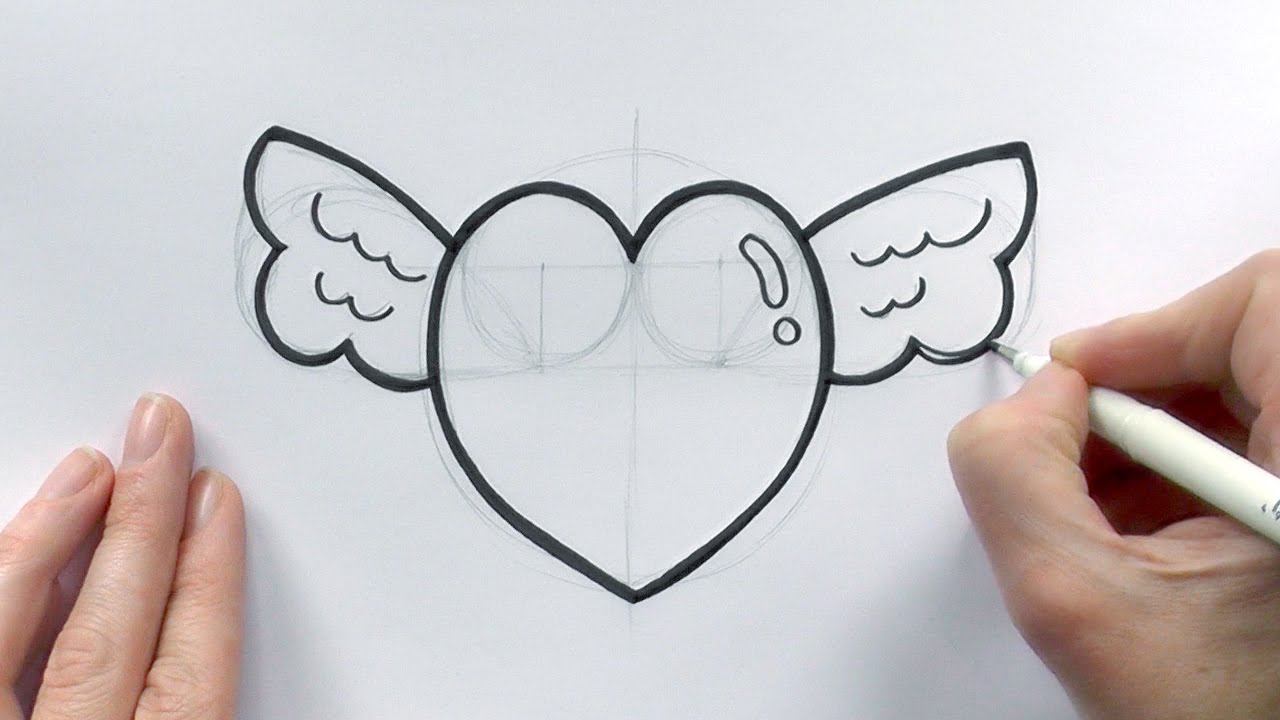 1280x720 How To Draw A Cartoon Love Heart With Wings For Valentine's Day