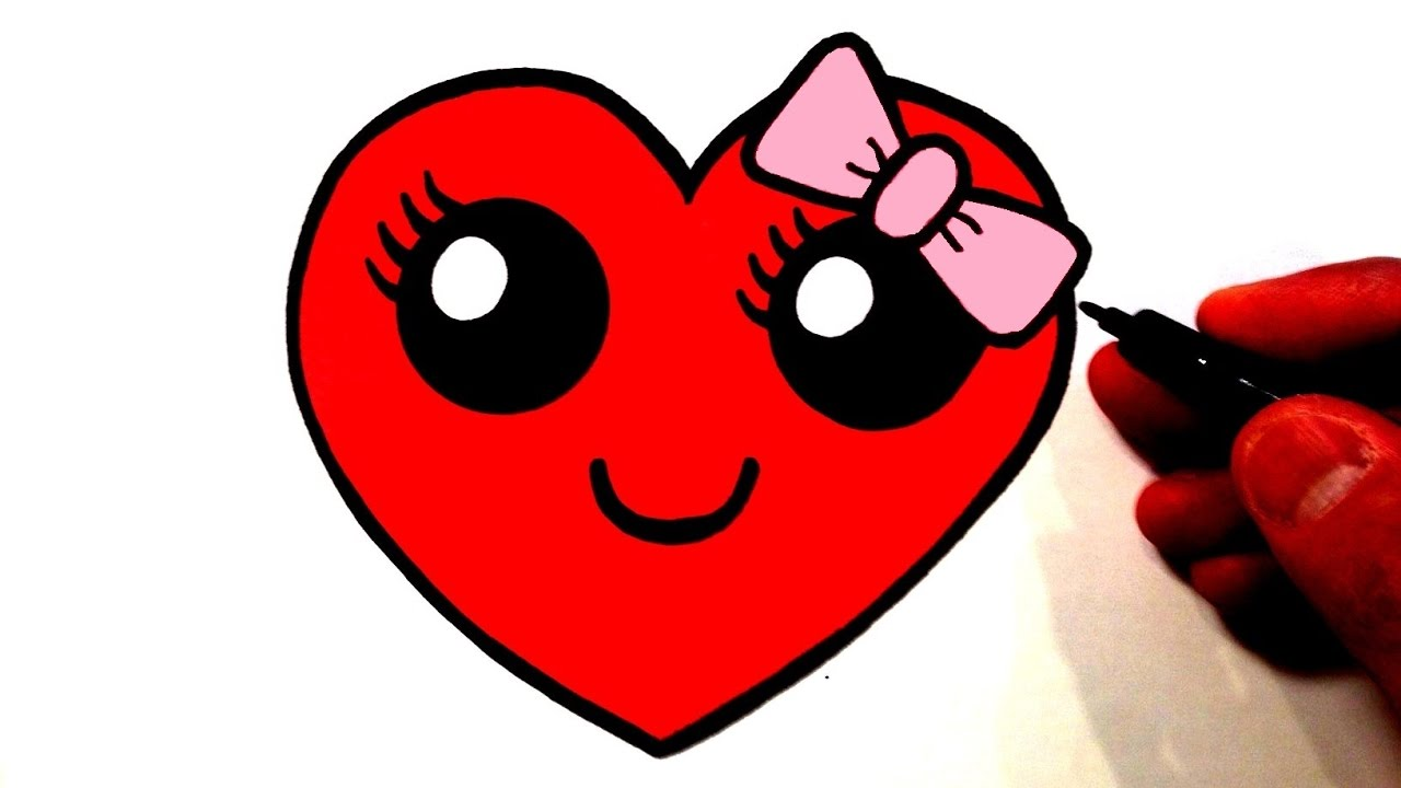 1280x720 How To Draw A Cute Heart Smiley Face With A Bow