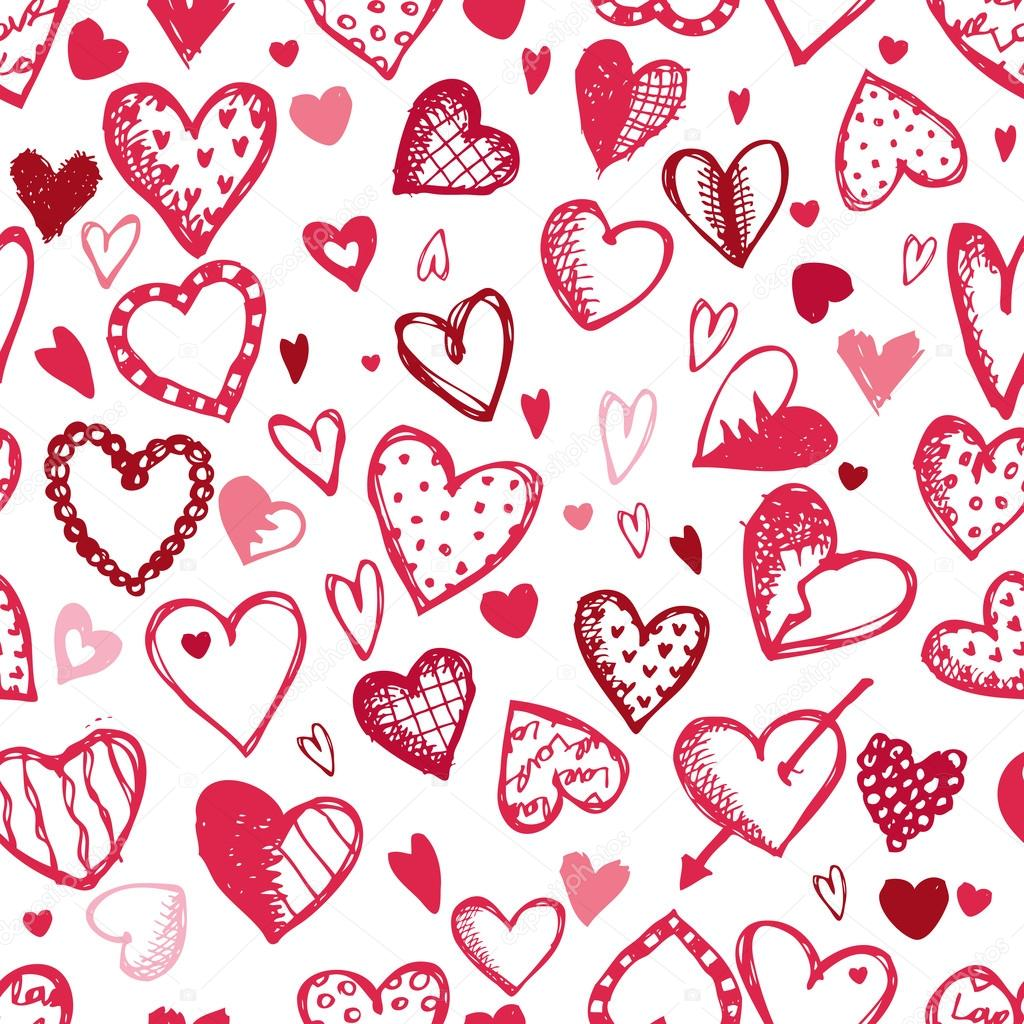 1024x1024 Seamless Pattern With Valentine Hearts, Sketch Drawing For Your