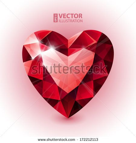 450x470 Red Ruby Heart Shape. Rgb Eps 10 Vector Illustration