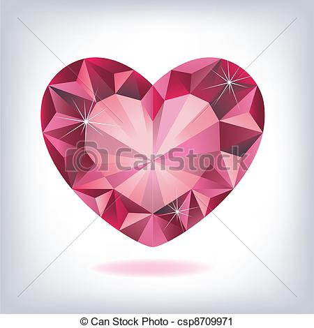 450x470 Ruby Heart Shaped Vector Clip Art