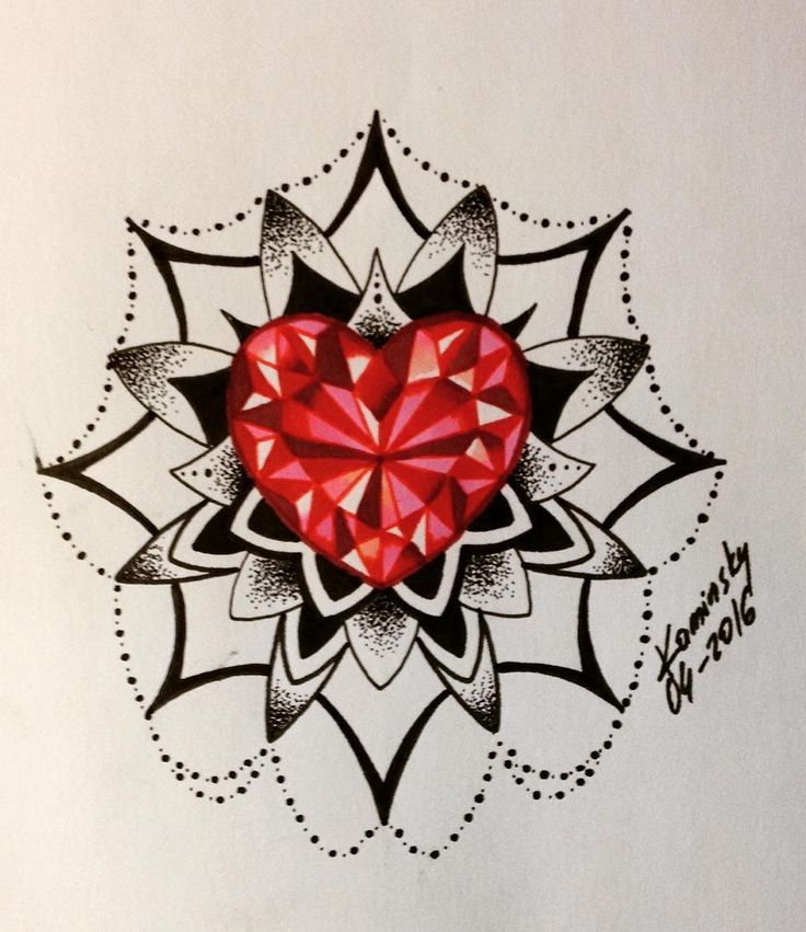 736x851 Mandala Diamond Tattoo Tattoo Diamond Heart Diamond Tattoos Web