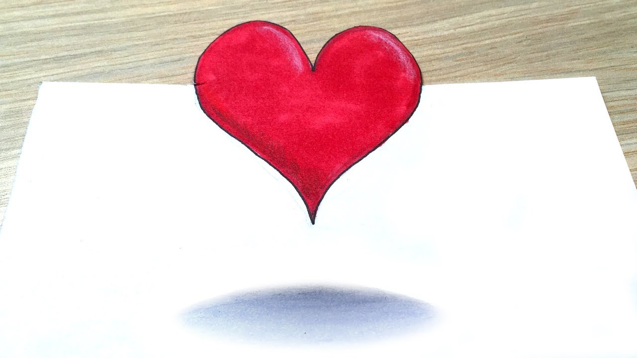 1280x720 How To Draw Cute Heart, 3d Trick Art Heart Drawing