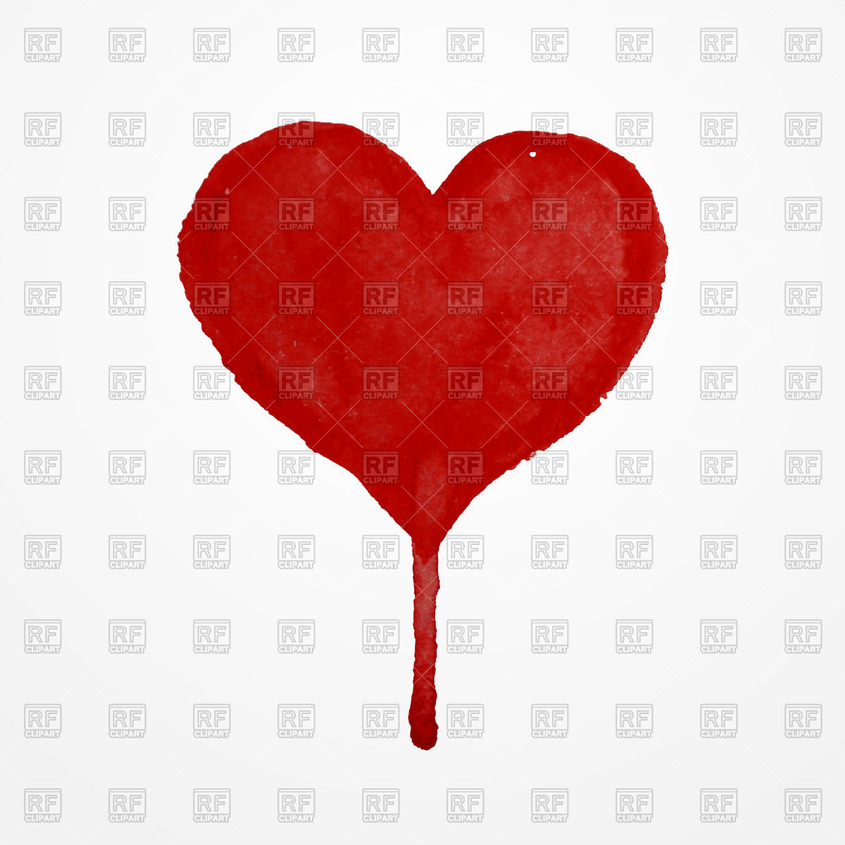 1200x1200 Red Hand Drawn Watercolor Heart With Blood Drop Royalty Free