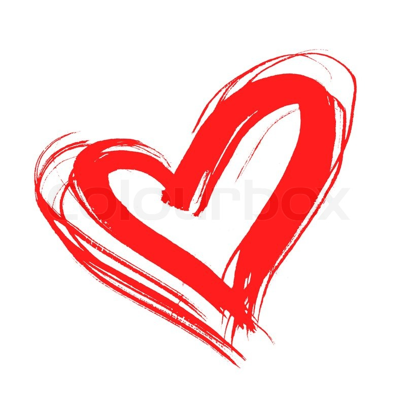 800x790 Red Heart, Drawn By Hand, Isolated On White Stock Photo Colourbox