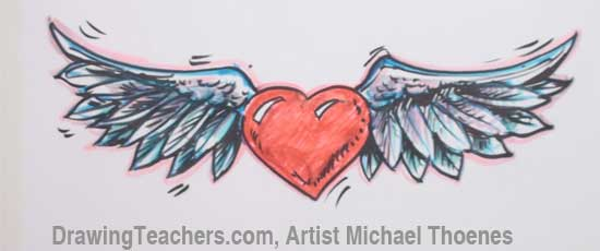 550x230 Heart With Wings Drawing