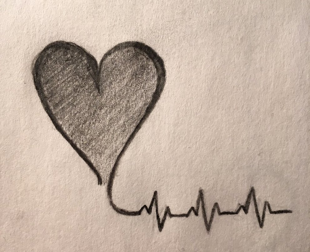 991x806 Beating Heart Drawing By Fluffysushipro