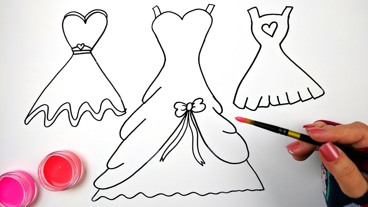 1280x720 Draw Color And Paint Bow And Heart Dresses Coloring Pages For Kids