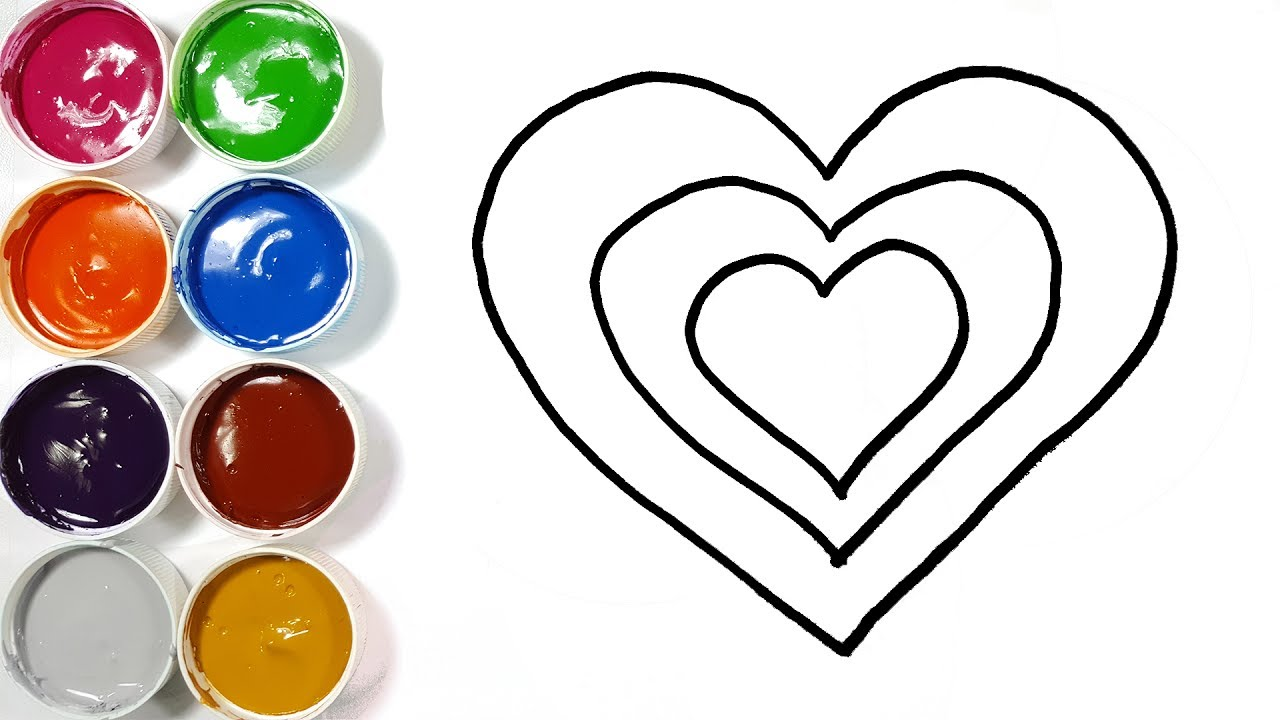 1280x720 Heart Drawing And Coloring Pages For Kids