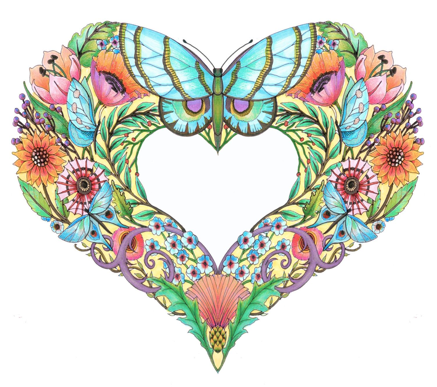 1500x1330 Open Hearts Coloring Pages For Adults Set Of 10 By Emerlyearts