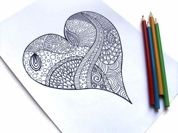570x427 Zentangle Inspired Printable Coloring Page, Zendoodle Flower, Page
