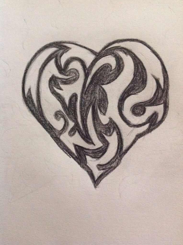 764x1024 Cool Heart Drawing Tribal Heart Drawings Lt Images Amp Galleries