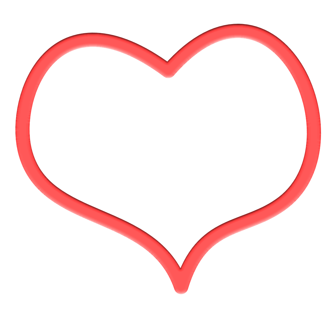 1150x1100 Heart Outline Red Drawing Transparent Png