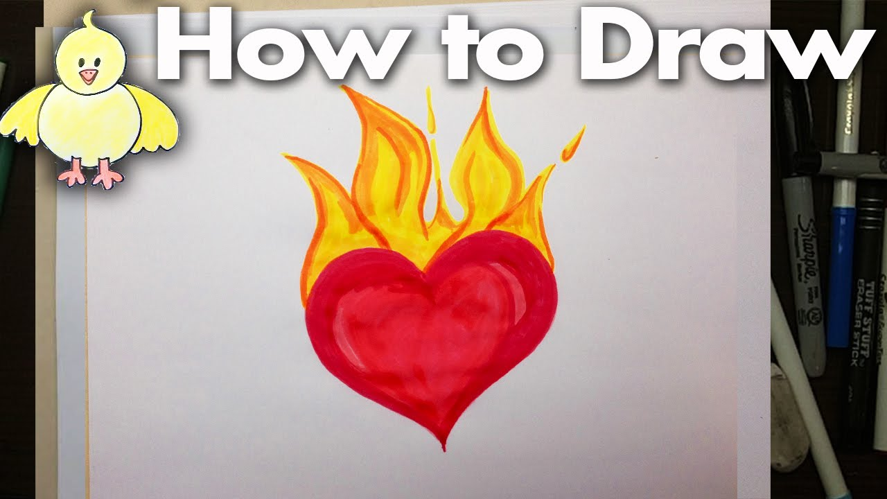 1280x720 How To Draw And Easy Cartoon Flaming Heart Step By Step