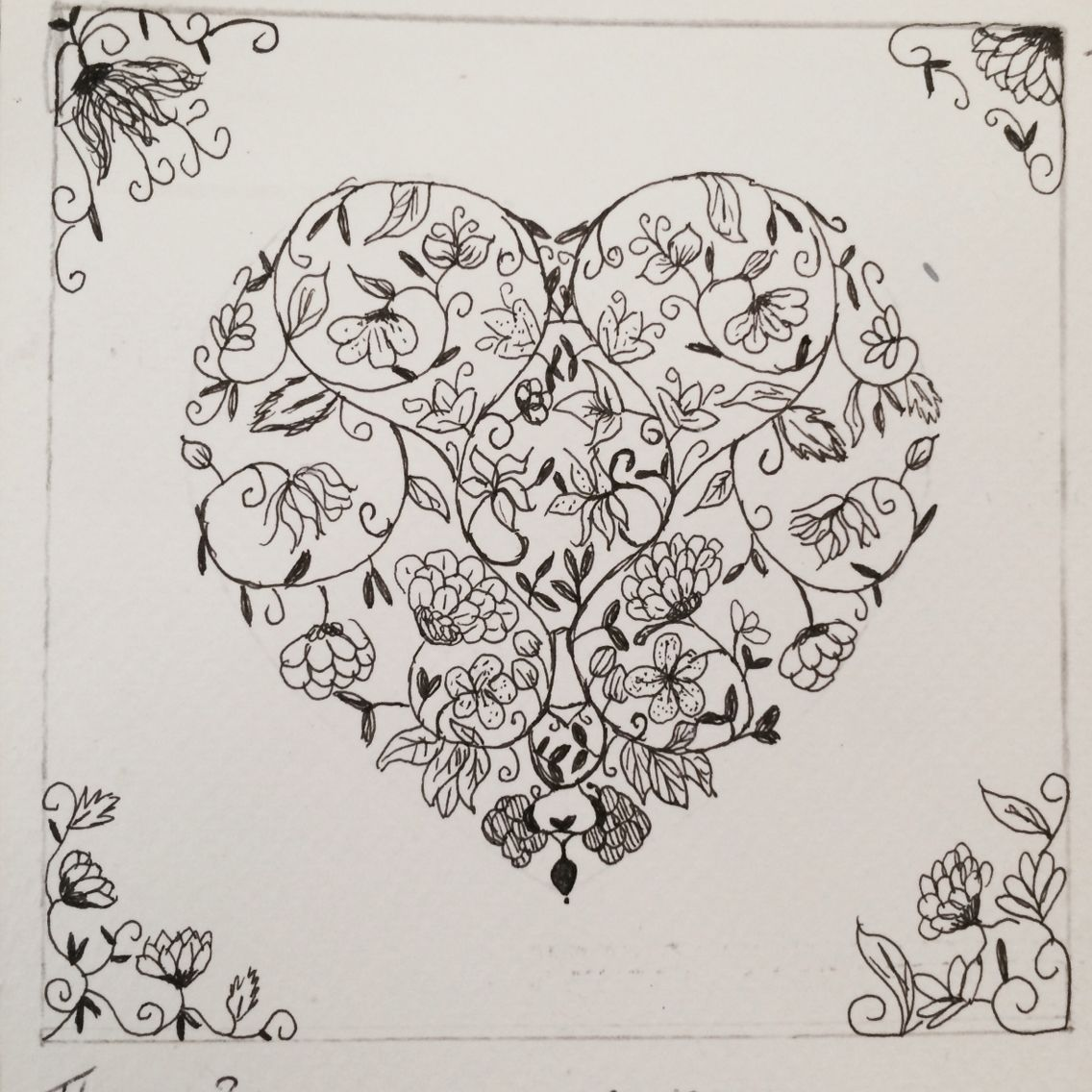 1136x1136 Fine Liner Heart From Flowers For A Level Art