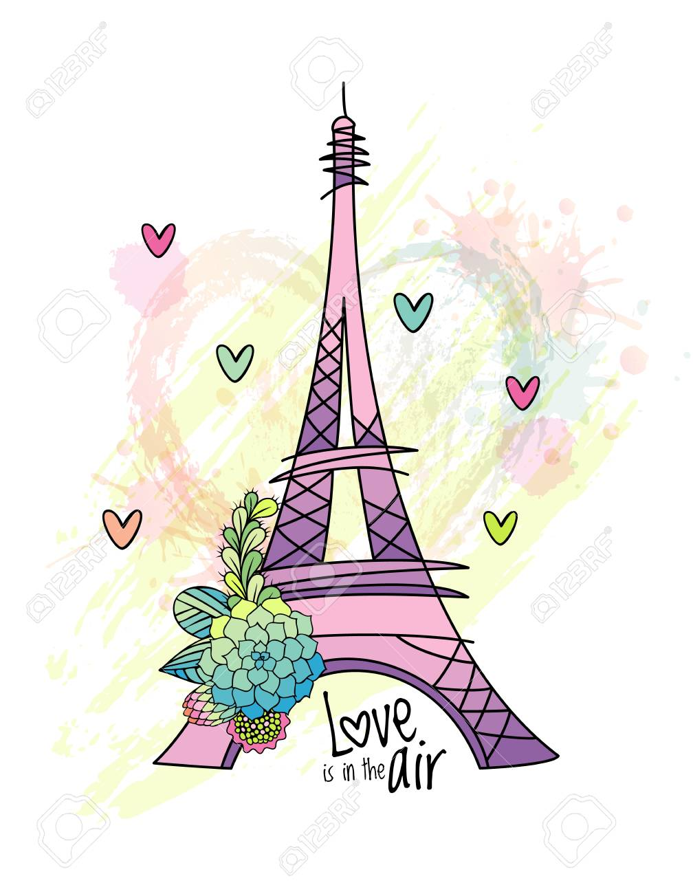 1008x1300 Floral Love Card Design With Eiffel Tower Vector. Hand Drawn
