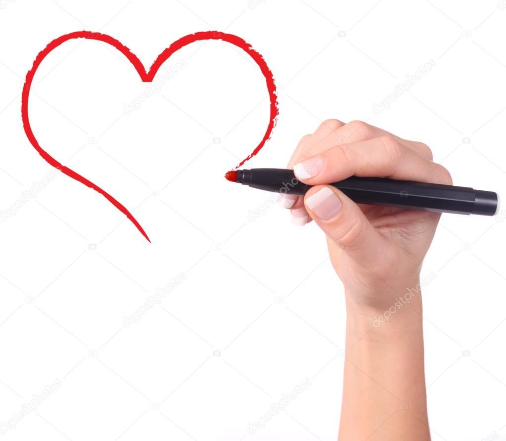 1023x892 Childs Hand Drawing Heart Stock Photo Halina Photo