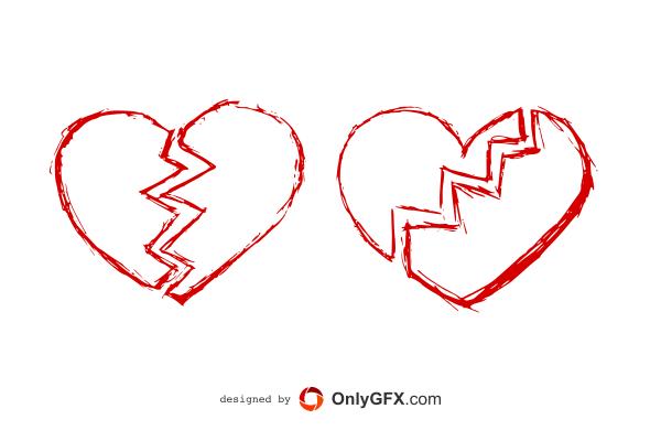 600x400 Hand Drawn Broken Heart Vector (Eps, Svg, Png)