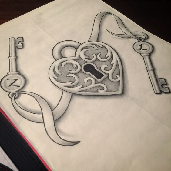 564x564 31 Best Heart Lock Key Tattoo Design Outline Images