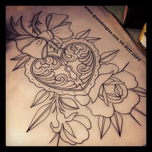 500x500 Heart Locket Tattoo For Me And Jamie Could Get The Key. Possible