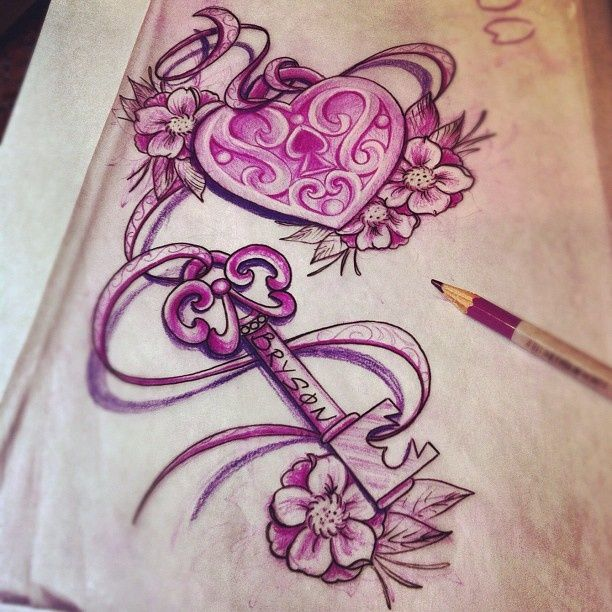 612x612 Pink Ink Heart Shape Lock And Key With Flowers Tattoo Design By